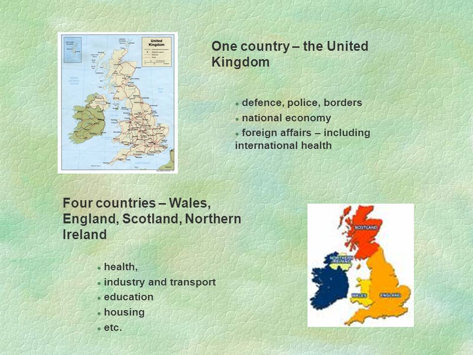 One country – the United Kingdom l defence, police, borders l national economy l foreign affairs – including international health Four countries – Wales, England, Scotland, Northern Ireland l health, l industry and transport l education l housing l etc.
