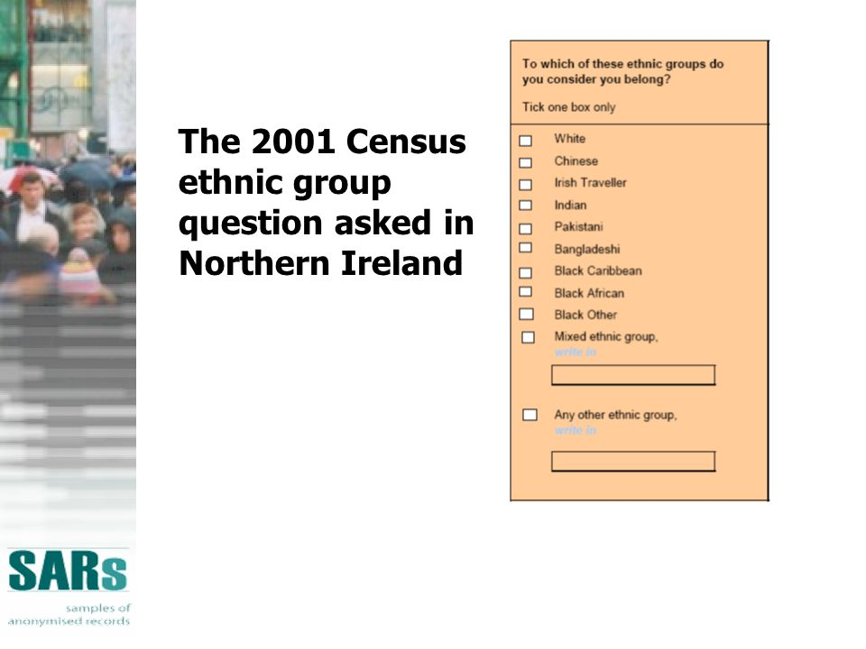 The 2001 Census ethnic group question asked in Northern Ireland