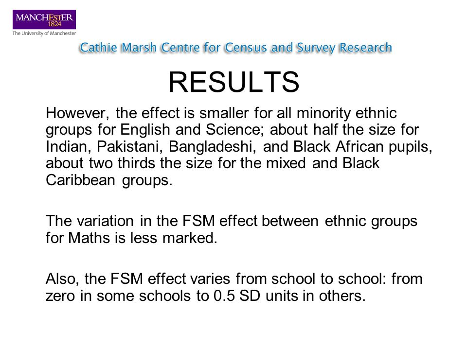 RESULTS However, the effect is smaller for all minority ethnic groups for English and Science; about half the size for Indian, Pakistani, Bangladeshi, and Black African pupils, about two thirds the size for the mixed and Black Caribbean groups.