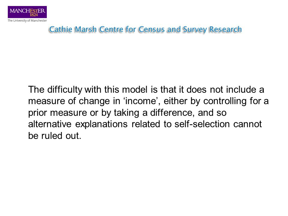 The difficulty with this model is that it does not include a measure of change in income, either by controlling for a prior measure or by taking a difference, and so alternative explanations related to self-selection cannot be ruled out.