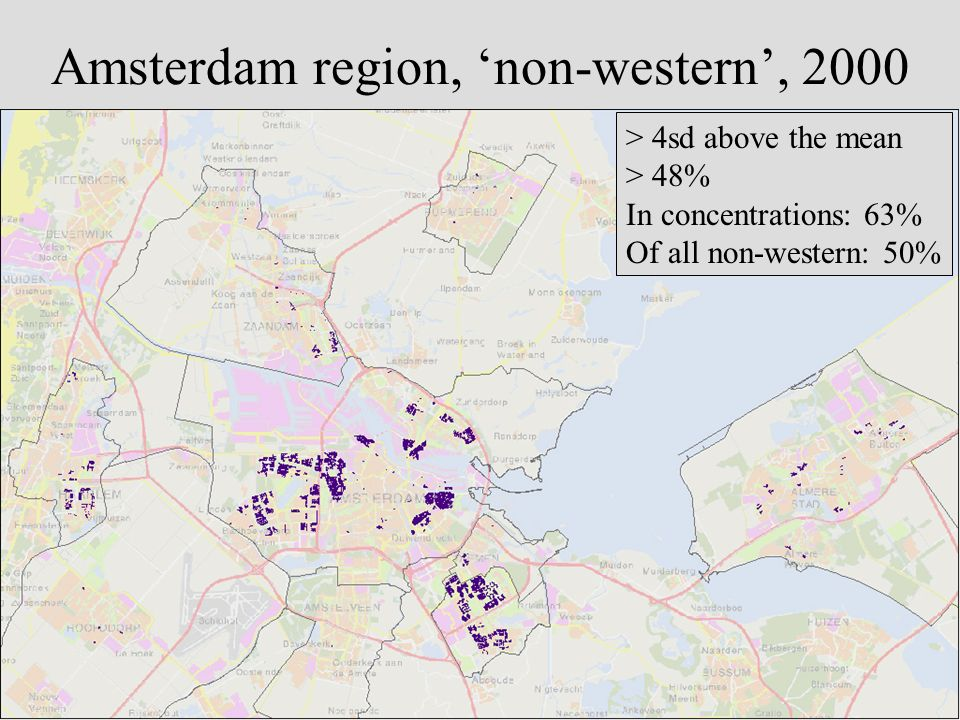 Amsterdam region, non-western, 2000 > 4sd above the mean > 48% In concentrations: 63% Of all non-western: 50%