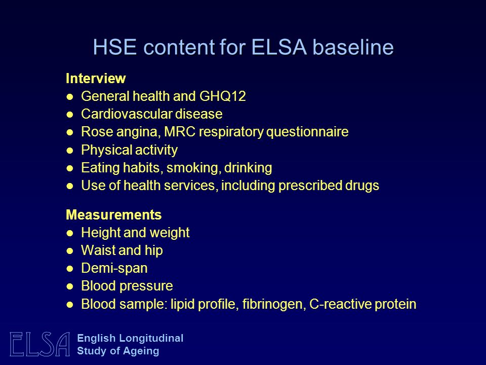 ELSA English Longitudinal Study of Ageing HSE content for ELSA baseline Interview General health and GHQ12 Cardiovascular disease Rose angina, MRC respiratory questionnaire Physical activity Eating habits, smoking, drinking Use of health services, including prescribed drugs Measurements Height and weight Waist and hip Demi-span Blood pressure Blood sample: lipid profile, fibrinogen, C-reactive protein