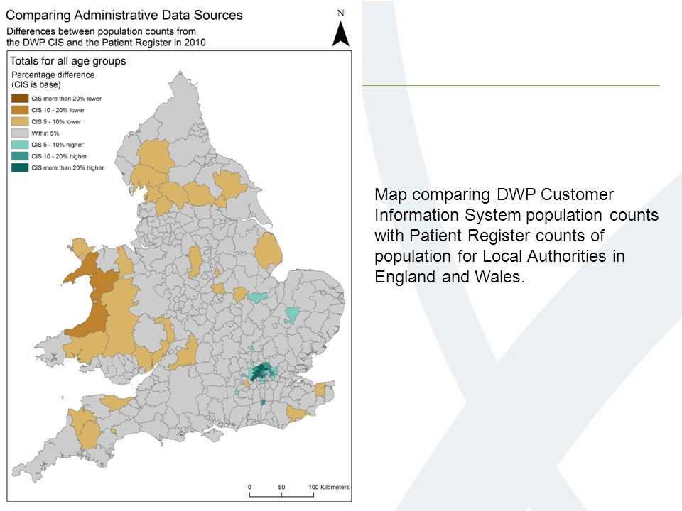 Map comparing DWP Customer Information System population counts with Patient Register counts of population for Local Authorities in England and Wales.