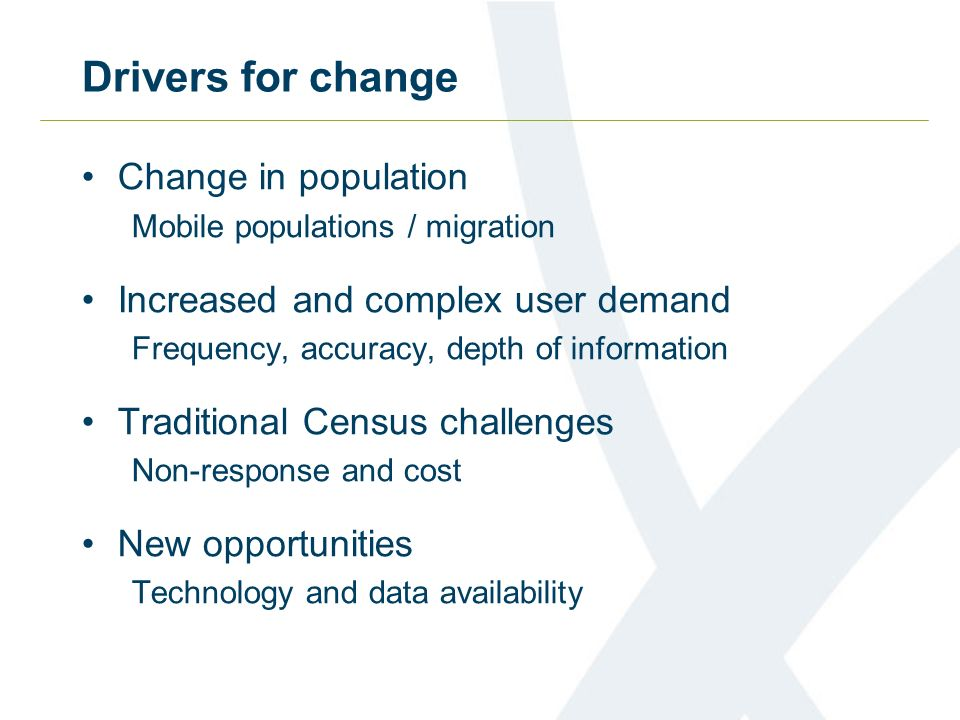 Drivers for change Change in population Mobile populations / migration Increased and complex user demand Frequency, accuracy, depth of information Traditional Census challenges Non-response and cost New opportunities Technology and data availability