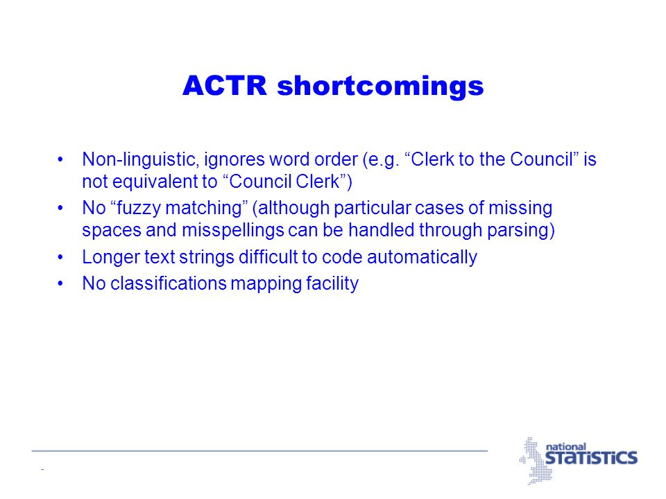 - ACTR shortcomings Non-linguistic, ignores word order (e.g.