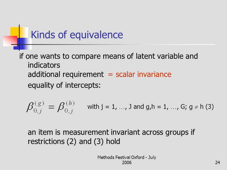 Methods Festival Oxford - July 200624 Kinds of equivalence if one wants to compare means of latent variable and indicators additional requirement = scalar invariance equality of intercepts: with j = 1, …, J and g,h = 1, …, G; g h (3) an item is measurement invariant across groups if restrictions (2) and (3) hold