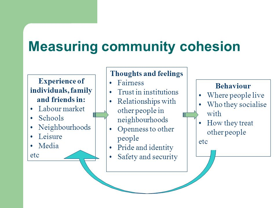 Measuring community cohesion Thoughts and feelings Fairness Trust in institutions Relationships with other people in neighbourhoods Openness to other people Pride and identity Safety and security Behaviour Where people live Who they socialise with How they treat other people etc Experience of individuals, family and friends in: Labour market Schools Neighbourhoods Leisure Media etc