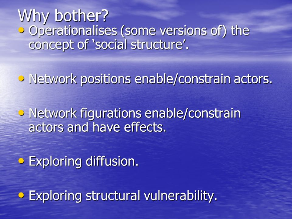 Why bother. Operationalises (some versions of) the concept of social structure.