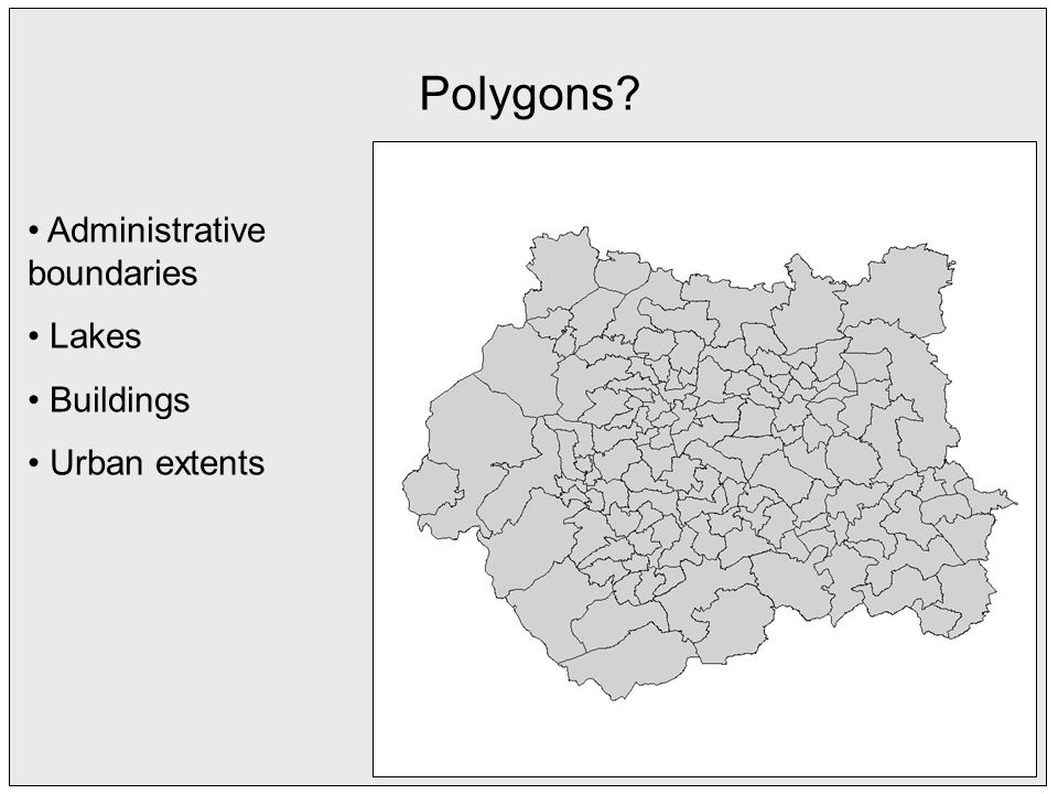 Polygons Administrative boundaries Lakes Buildings Urban extents