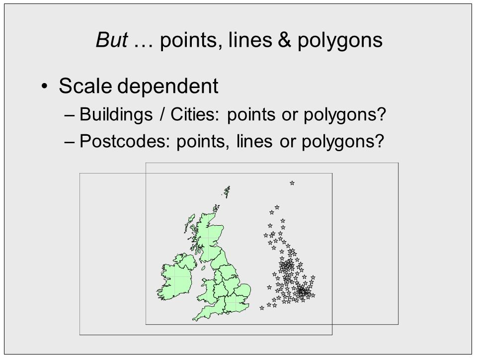 But … points, lines & polygons Scale dependent –Buildings / Cities: points or polygons.