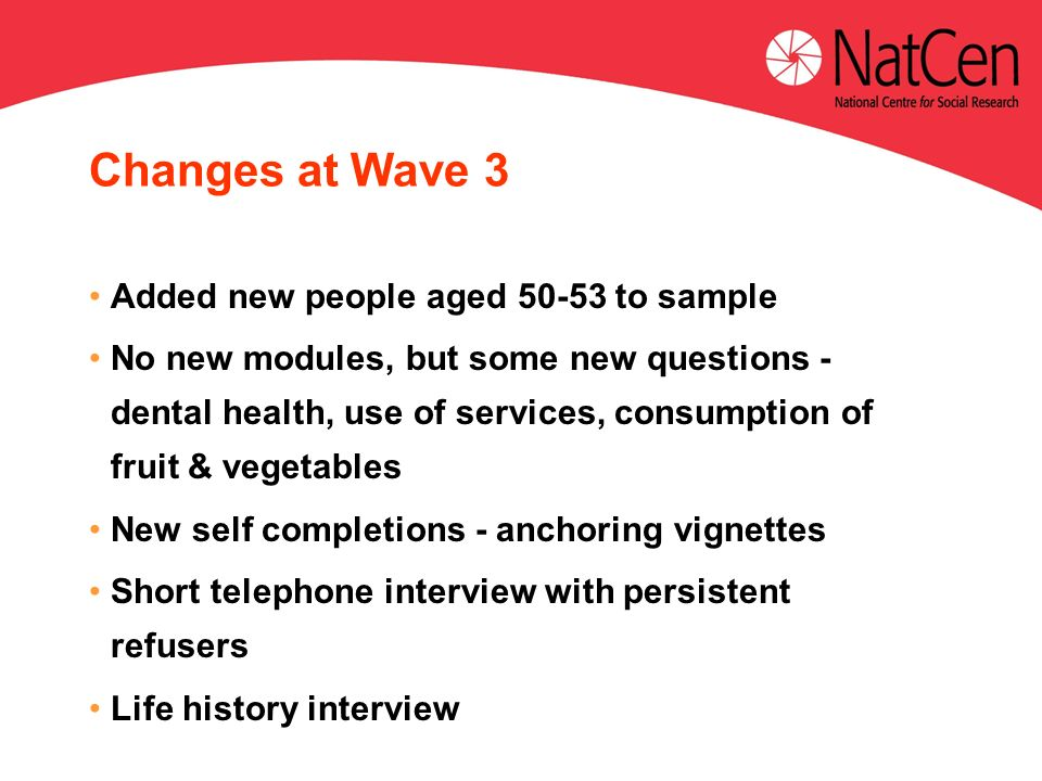 Changes at Wave 3 Added new people aged to sample No new modules, but some new questions - dental health, use of services, consumption of fruit & vegetables New self completions - anchoring vignettes Short telephone interview with persistent refusers Life history interview