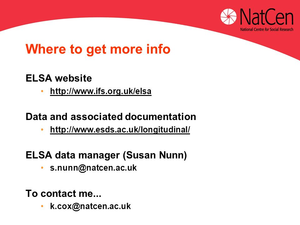 Where to get more info ELSA website   Data and associated documentation   ELSA data manager (Susan Nunn) To contact me...