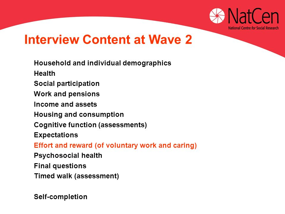 Interview Content at Wave 2 Household and individual demographics Health Social participation Work and pensions Income and assets Housing and consumption Cognitive function (assessments) Expectations Effort and reward (of voluntary work and caring) Psychosocial health Final questions Timed walk (assessment) Self-completion