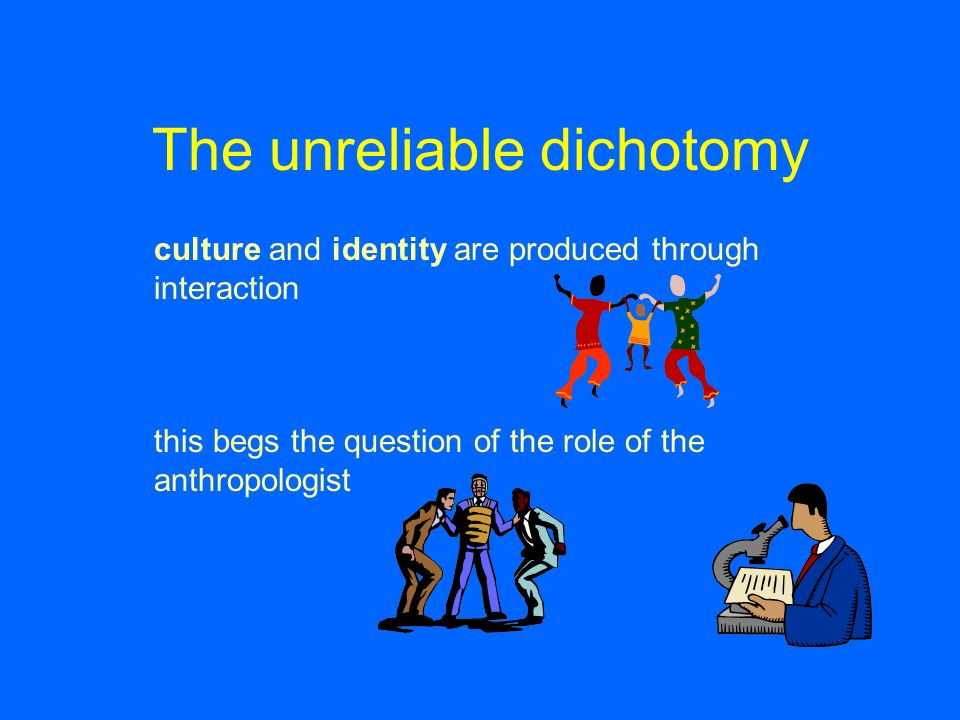 The unreliable dichotomy culture and identity are produced through interaction this begs the question of the role of the anthropologist