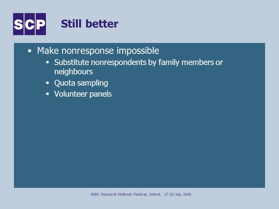 ESRC Research Methods Festival, Oxford, 17-20 July 2006 Still better Make nonresponse impossible Substitute nonrespondents by family members or neighbours Quota sampling Volunteer panels