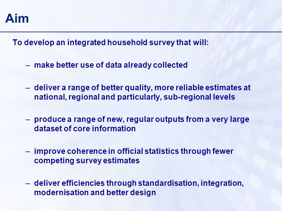 Aim To develop an integrated household survey that will: –make better use of data already collected –deliver a range of better quality, more reliable estimates at national, regional and particularly, sub-regional levels –produce a range of new, regular outputs from a very large dataset of core information –improve coherence in official statistics through fewer competing survey estimates –deliver efficiencies through standardisation, integration, modernisation and better design