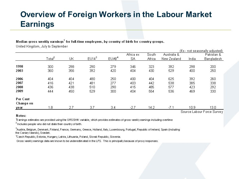 Overview of Foreign Workers in the Labour Market Earnings