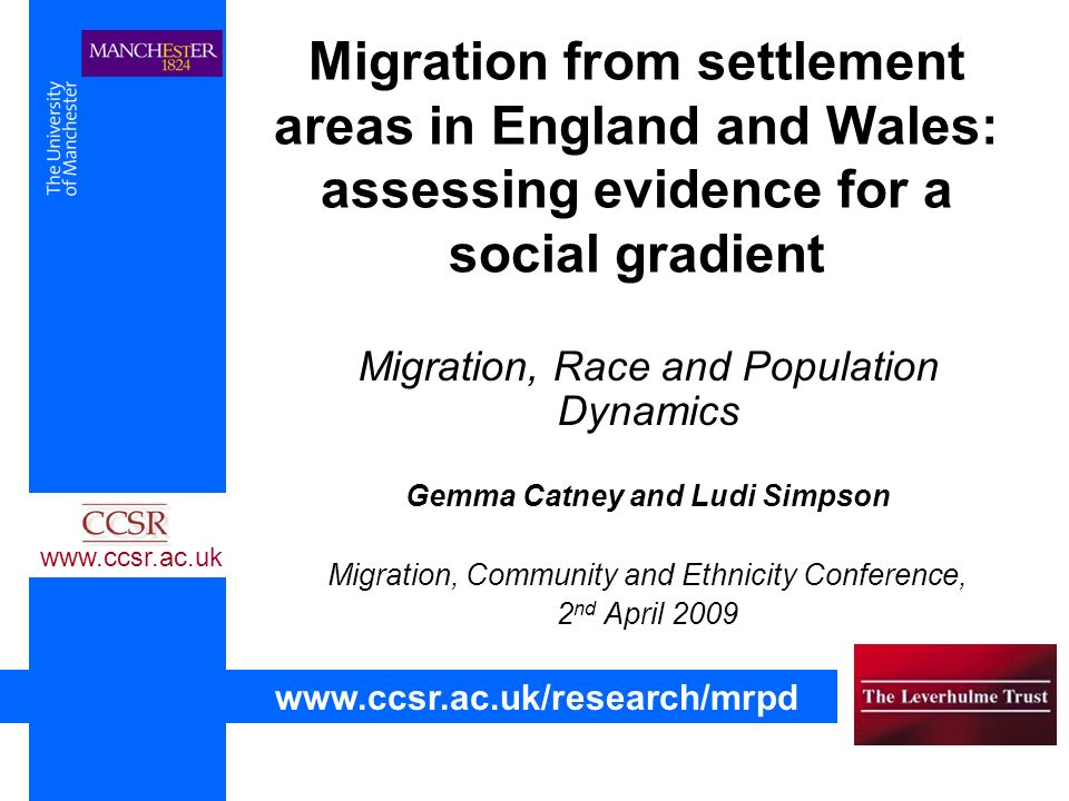 Migration from settlement areas in England and Wales: assessing evidence for a social gradient Migration, Race and Population Dynamics Gemma Catney and Ludi Simpson Migration, Community and Ethnicity Conference, 2 nd April 2009 www.ccsr.ac.uk www.ccsr.ac.uk/research/mrpd