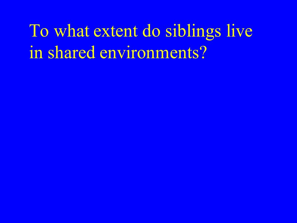 To what extent do siblings live in shared environments