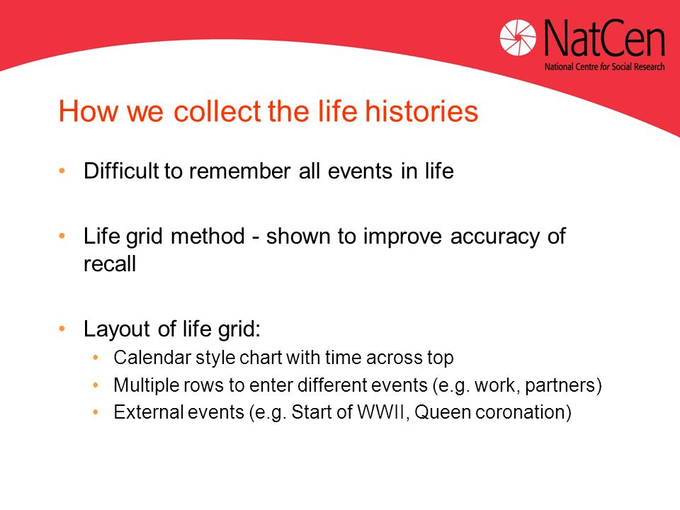 How we collect the life histories Difficult to remember all events in life Life grid method - shown to improve accuracy of recall Layout of life grid: Calendar style chart with time across top Multiple rows to enter different events (e.g.