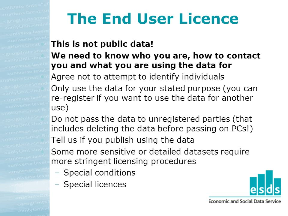 The End User Licence This is not public data.