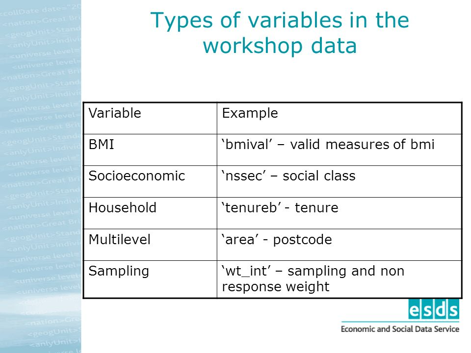 Types of variables in the workshop data VariableExample BMIbmival – valid measures of bmi Socioeconomicnssec – social class Householdtenureb - tenure Multilevelarea - postcode Samplingwt_int – sampling and non response weight