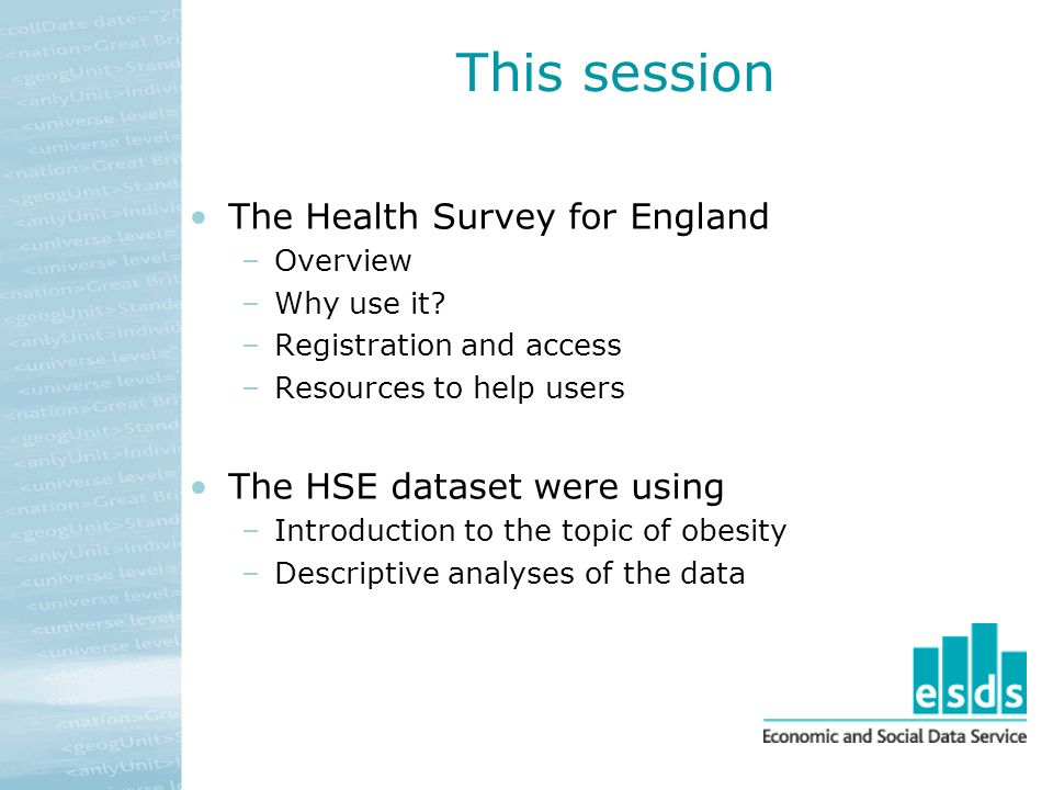 This session The Health Survey for England –Overview –Why use it.