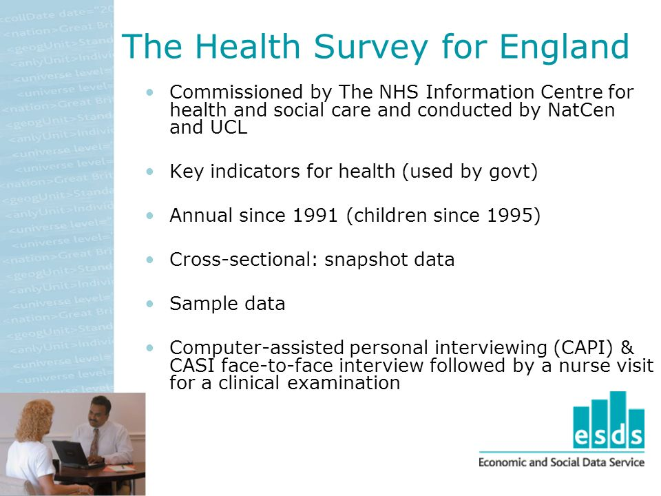 Commissioned by The NHS Information Centre for health and social care and conducted by NatCen and UCL Key indicators for health (used by govt) Annual since 1991 (children since 1995) Cross-sectional: snapshot data Sample data Computer-assisted personal interviewing (CAPI) & CASI face-to-face interview followed by a nurse visit for a clinical examination