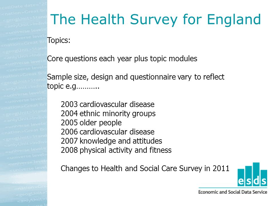 Topics: Core questions each year plus topic modules Sample size, design and questionnaire vary to reflect topic e.g………..