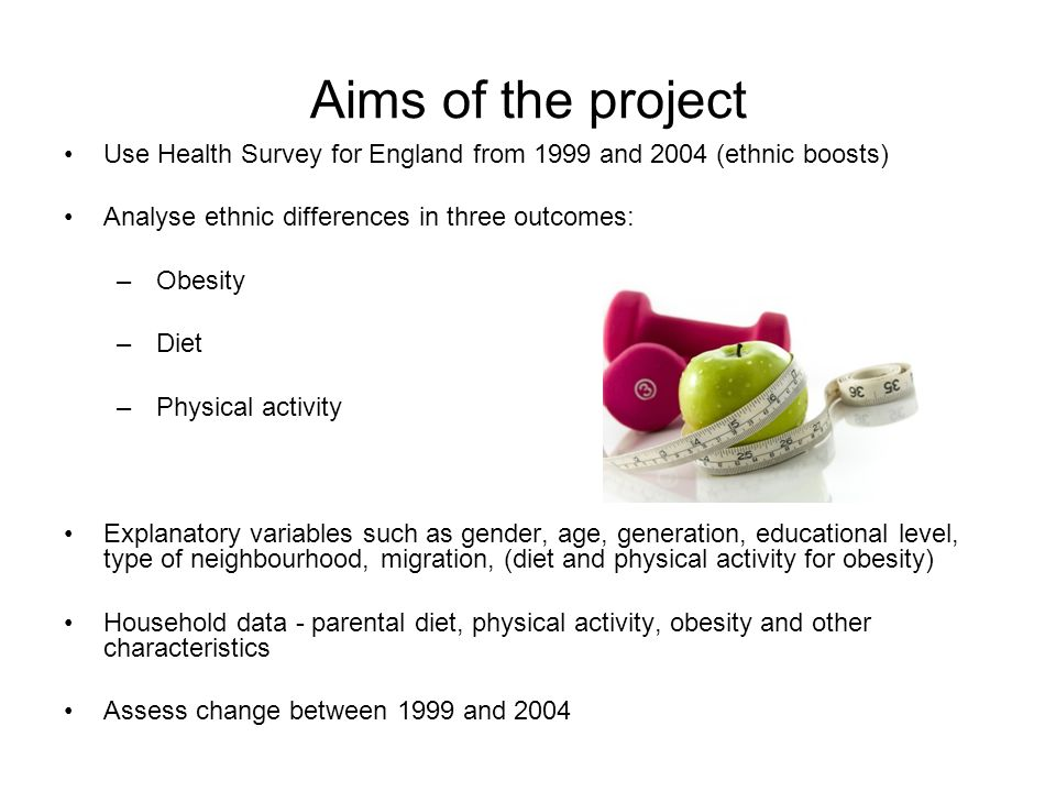 Aims of the project Use Health Survey for England from 1999 and 2004 (ethnic boosts) Analyse ethnic differences in three outcomes: –Obesity –Diet –Physical activity Explanatory variables such as gender, age, generation, educational level, type of neighbourhood, migration, (diet and physical activity for obesity) Household data - parental diet, physical activity, obesity and other characteristics Assess change between 1999 and 2004