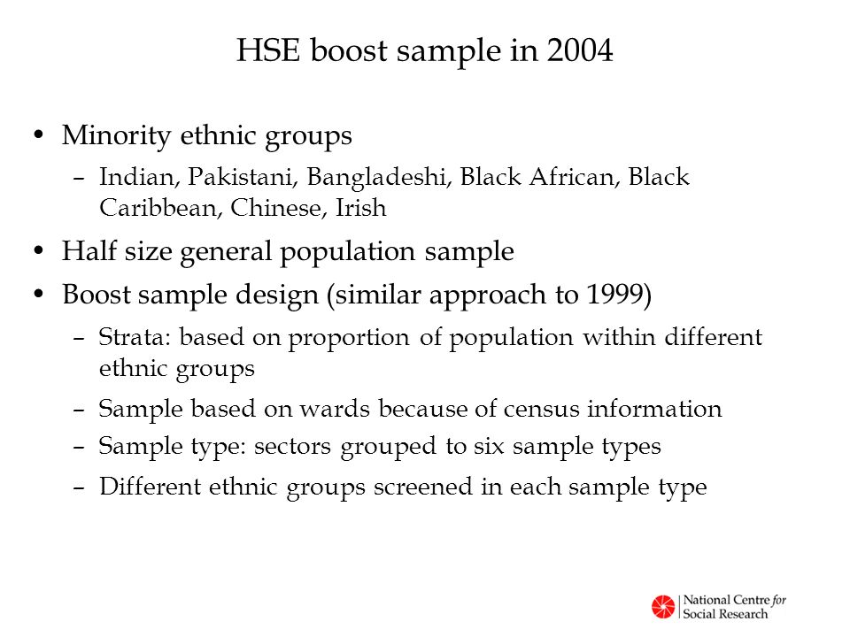 HSE boost sample in 2004 Minority ethnic groups –Indian, Pakistani, Bangladeshi, Black African, Black Caribbean, Chinese, Irish Half size general population sample Boost sample design (similar approach to 1999) –Strata: based on proportion of population within different ethnic groups –Sample based on wards because of census information –Sample type: sectors grouped to six sample types –Different ethnic groups screened in each sample type