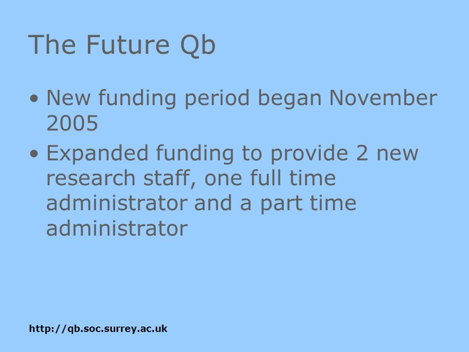 The Future Qb New funding period began November 2005 Expanded funding to provide 2 new research staff, one full time administrator and a part time administrator