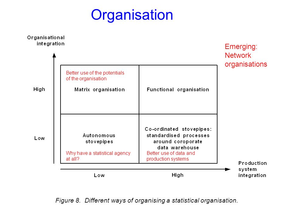 Organisation Figure 8. Different ways of organising a statistical organisation.