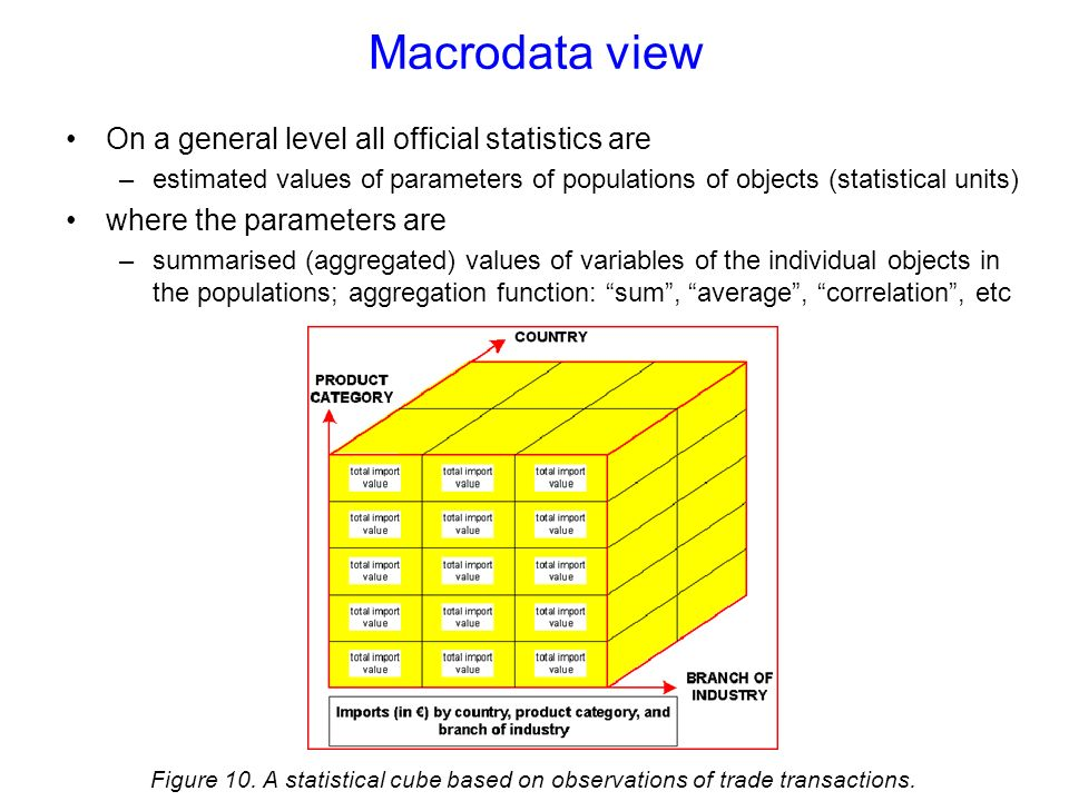 Macrodata view On a general level all official statistics are –estimated values of parameters of populations of objects (statistical units) where the parameters are –summarised (aggregated) values of variables of the individual objects in the populations; aggregation function: sum, average, correlation, etc Figure 10.