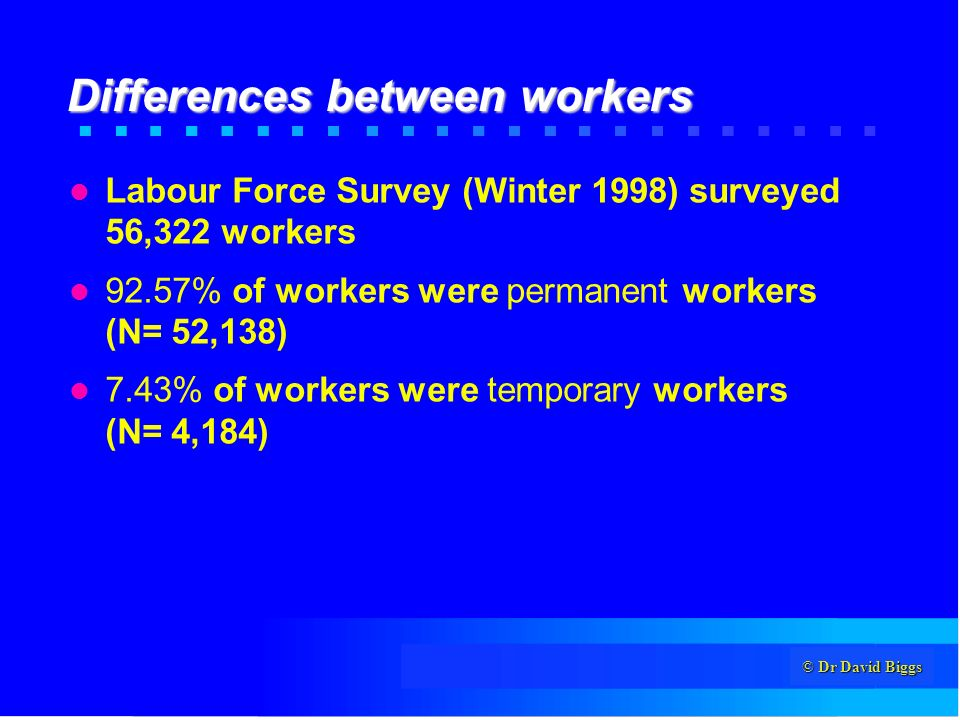 © Dr David Biggs Differences between workers Labour Force Survey (Winter 1998) surveyed 56,322 workers 92.57% of workers were permanent workers (N= 52,138) 7.43% of workers were temporary workers (N= 4,184)