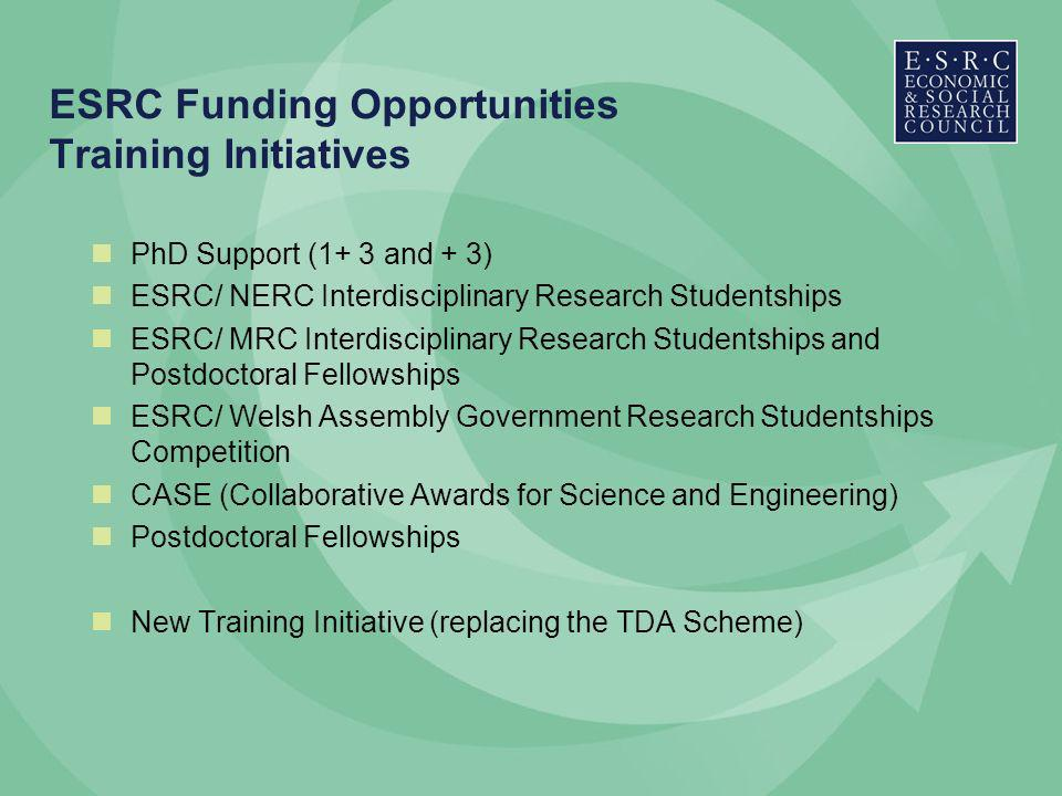 ESRC Funding Opportunities Training Initiatives PhD Support (1+ 3 and + 3) ESRC/ NERC Interdisciplinary Research Studentships ESRC/ MRC Interdisciplinary Research Studentships and Postdoctoral Fellowships ESRC/ Welsh Assembly Government Research Studentships Competition CASE (Collaborative Awards for Science and Engineering) Postdoctoral Fellowships New Training Initiative (replacing the TDA Scheme)