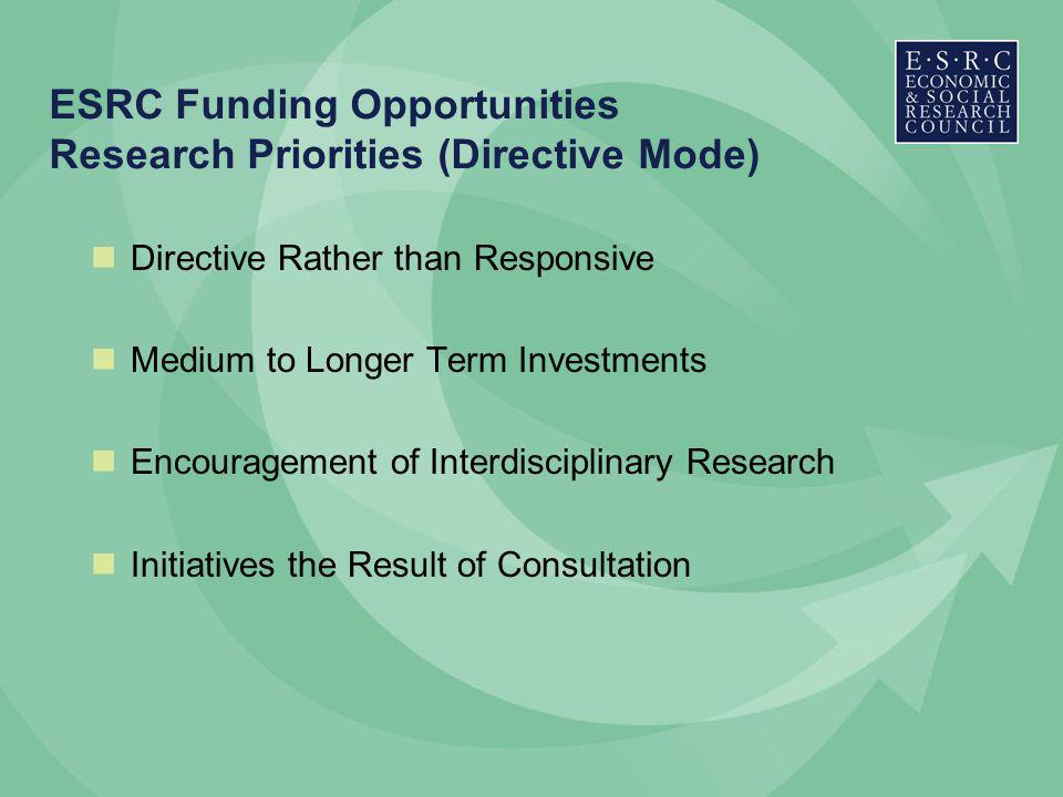 ESRC Funding Opportunities Research Priorities (Directive Mode) Directive Rather than Responsive Medium to Longer Term Investments Encouragement of Interdisciplinary Research Initiatives the Result of Consultation