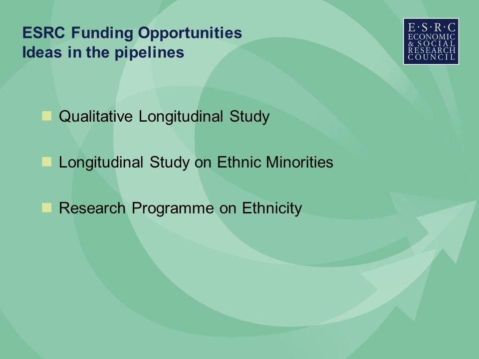 ESRC Funding Opportunities Ideas in the pipelines Qualitative Longitudinal Study Longitudinal Study on Ethnic Minorities Research Programme on Ethnicity