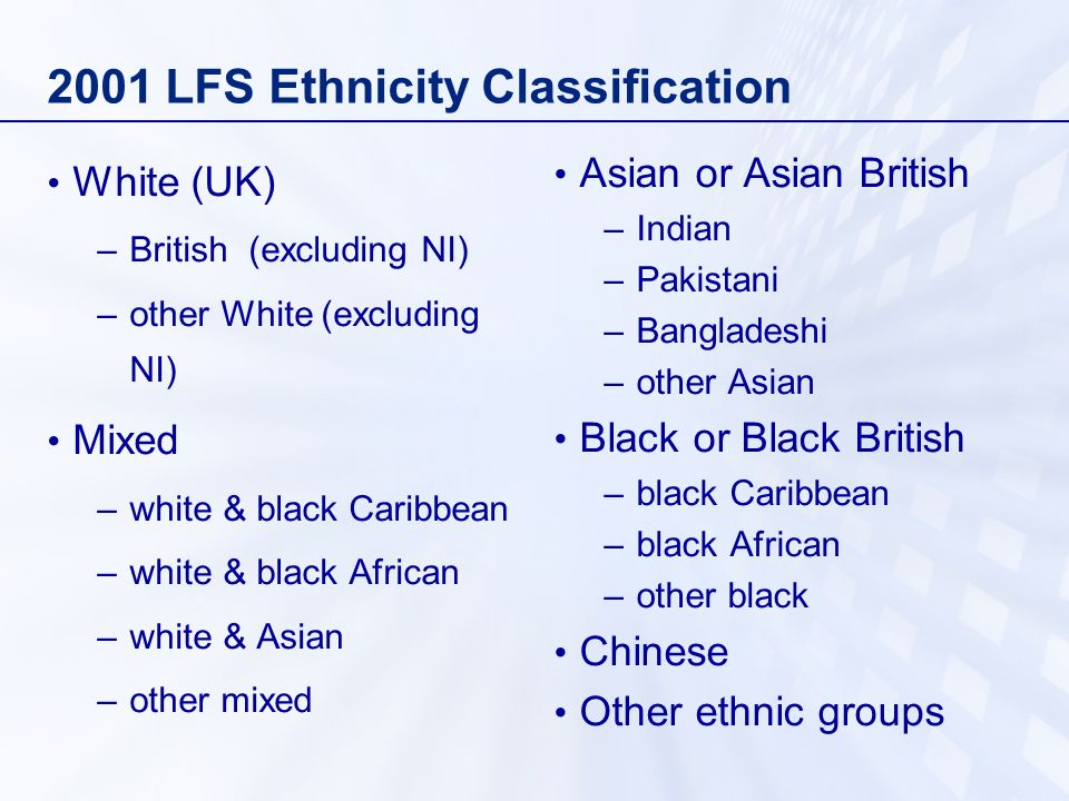 2001 LFS Ethnicity Classification White (UK) –British (excluding NI) –other White (excluding NI) Mixed –white & black Caribbean –white & black African –white & Asian –other mixed Asian or Asian British –Indian –Pakistani –Bangladeshi –other Asian Black or Black British –black Caribbean –black African –other black Chinese Other ethnic groups