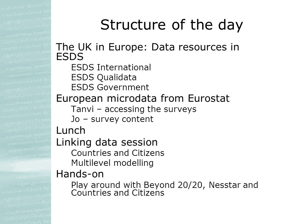 Structure of the day The UK in Europe: Data resources in ESDS ESDS International ESDS Qualidata ESDS Government European microdata from Eurostat Tanvi – accessing the surveys Jo – survey content Lunch Linking data session Countries and Citizens Multilevel modelling Hands-on Play around with Beyond 20/20, Nesstar and Countries and Citizens