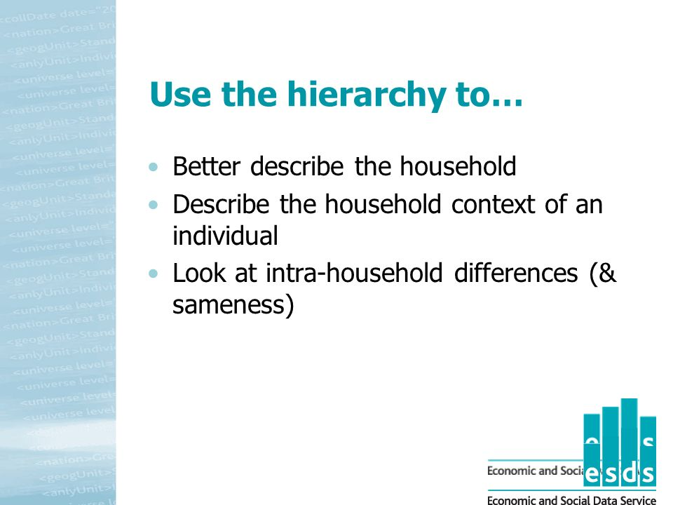 Use the hierarchy to… Better describe the household Describe the household context of an individual Look at intra-household differences (& sameness)