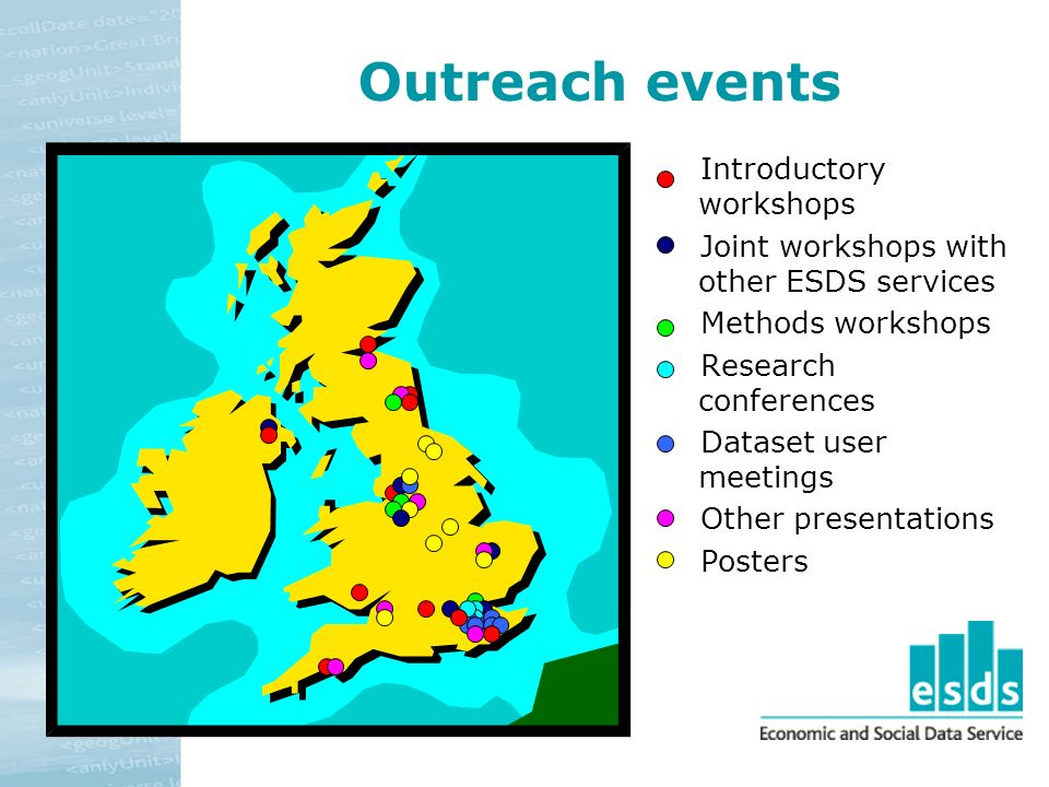 Outreach events Introductory workshops Joint workshops with other ESDS services Methods workshops Research conferences Dataset user meetings Other presentations Posters