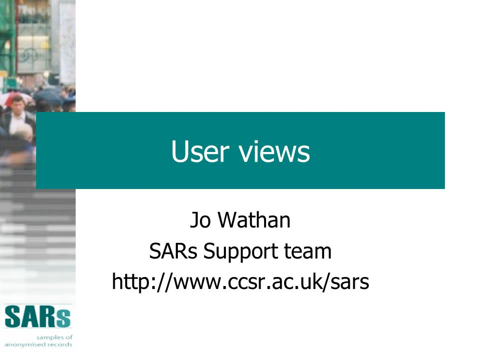 User views Jo Wathan SARs Support team