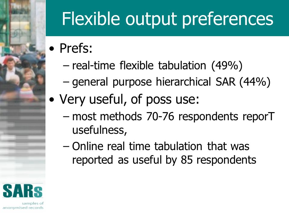 Flexible output preferences Prefs: –real-time flexible tabulation (49%) –general purpose hierarchical SAR (44%) Very useful, of poss use: –most methods respondents reporT usefulness, –Online real time tabulation that was reported as useful by 85 respondents