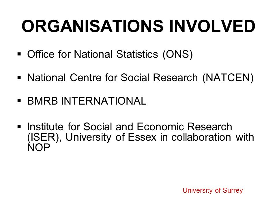 ORGANISATIONS INVOLVED Office for National Statistics (ONS) National Centre for Social Research (NATCEN) BMRB INTERNATIONAL Institute for Social and Economic Research (ISER), University of Essex in collaboration with NOP University of Surrey