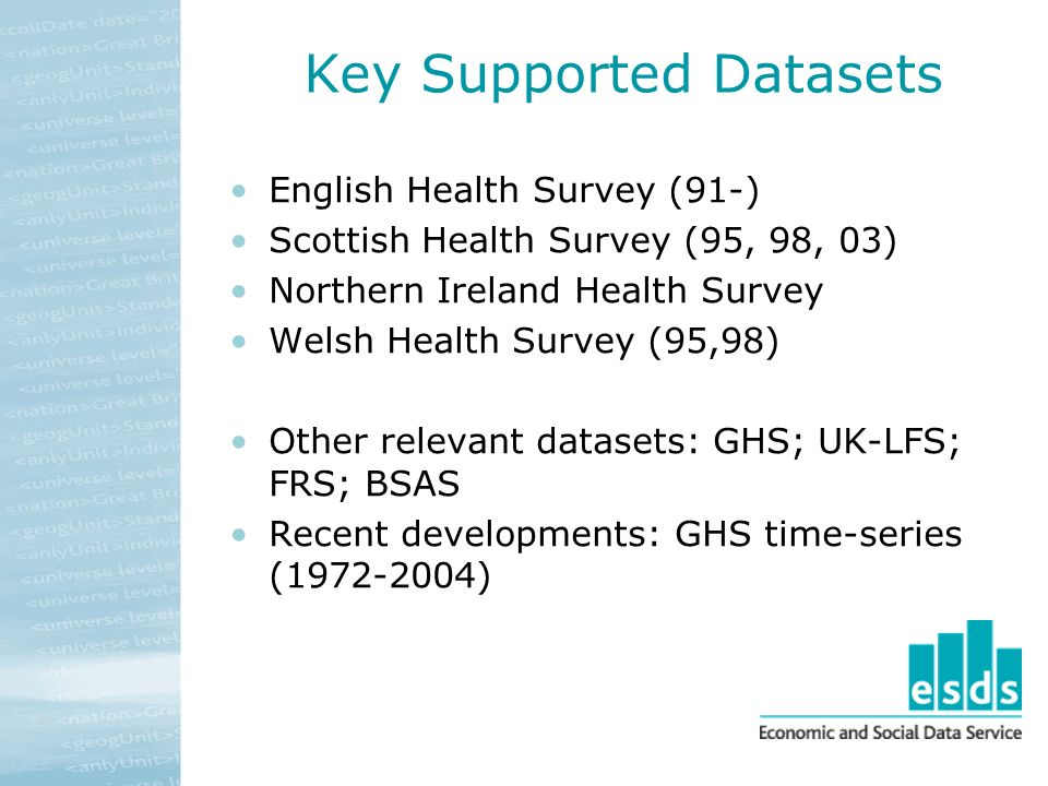 Key Supported Datasets English Health Survey (91-) Scottish Health Survey (95, 98, 03) Northern Ireland Health Survey Welsh Health Survey (95,98) Other relevant datasets: GHS; UK-LFS; FRS; BSAS Recent developments: GHS time-series (1972-2004)