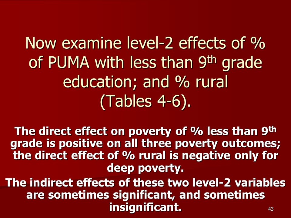 43 Now examine level-2 effects of % of PUMA with less than 9 th grade education; and % rural (Tables 4-6).