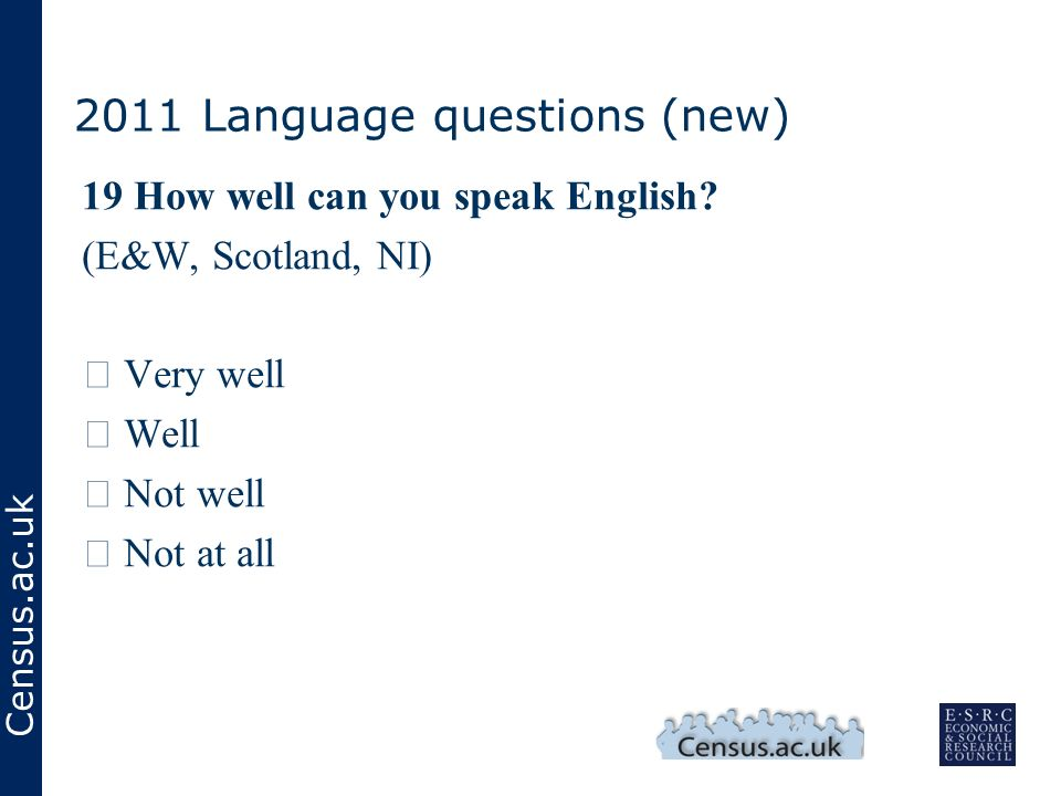 Census.ac.uk 2011 Language questions (new) 19 How well can you speak English.