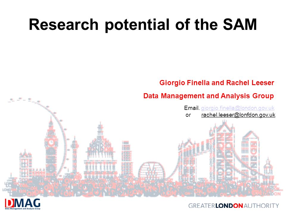 Research potential of the SAM Giorgio Finella and Rachel Leeser Data Management and Analysis Group Email.