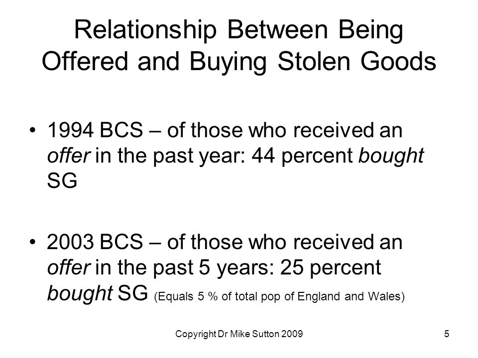 Copyright Dr Mike Sutton 20095 Relationship Between Being Offered and Buying Stolen Goods 1994 BCS – of those who received an offer in the past year: 44 percent bought SG 2003 BCS – of those who received an offer in the past 5 years: 25 percent bought SG (Equals 5 % of total pop of England and Wales)